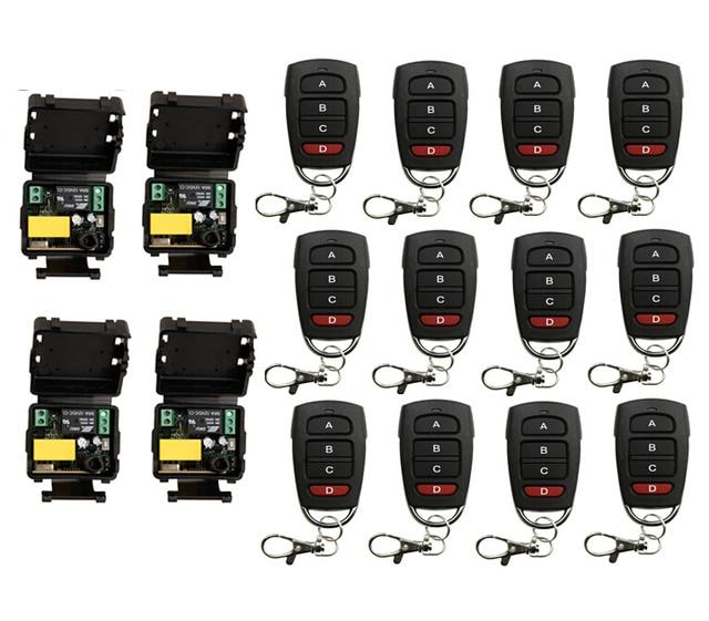 AC 220 V  1 channel RF  mini  Wireless Remote Control  4 piece Receiver  & 12 piece   transmitter  home intelligent power system