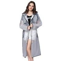 Прозрачный дождевик из ЭВА с капюшоном Женский дождевик длинная куртка непромокаемые дождевики = пончо непромокаемый дождевик 4 цвета