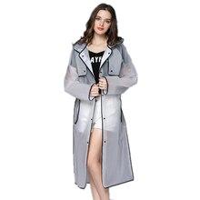 Eva прозрачный плащ с капюшоном Для женщин дождевик длинная куртка Водонепроницаемый дождь пончо открытый плащи 4 цвета