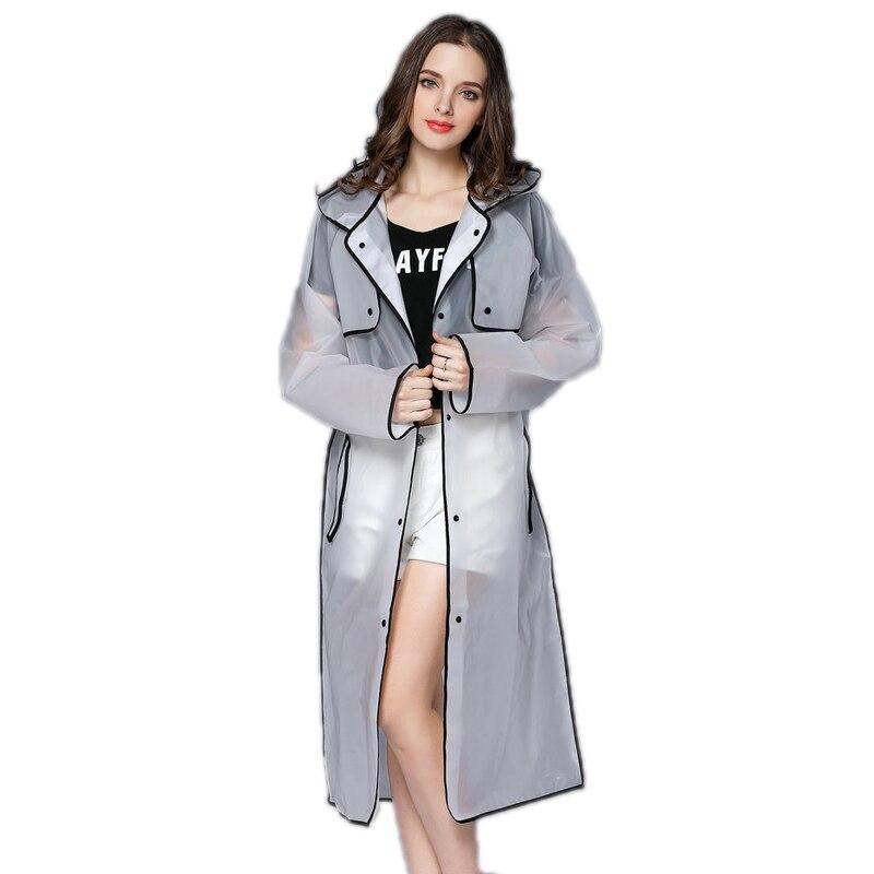 EVA Transparent Regenmantel Mit Kapuze Frauen Regen Mantel Lange Jacke Wasserdicht Regen Poncho Outdoor Regenbekleidung 4 Farben