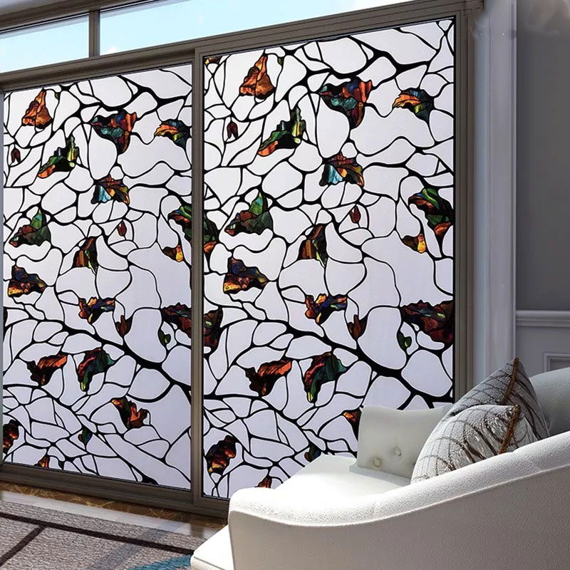 Colored stone Window Sticker Stained Privacy Glass Film Static Cling Frosted Opaque bathroom Home decorative film