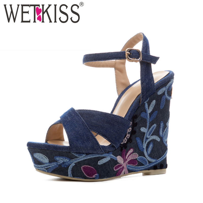 WETKISS Big Size High Heels Women Sandals 2018 New Summer Denim Fashion Platform Ladies Shoes Embroider Wedges Open Toe Footwear new women casual platform wedges sandals fashion cross strap gladiator sandals for women sexy high heels ladies summer shoes