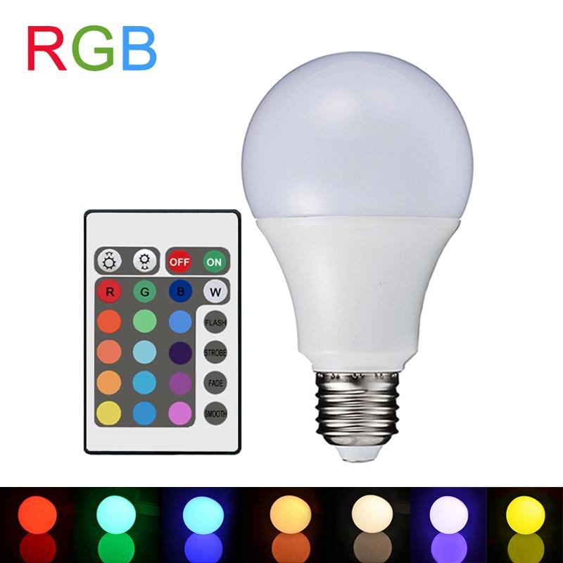 Rgb Led Lamp E27 3w 5w 7w Led Rgb Light Lampada Led Bulb 90260v Smd5050 16 Colors Change Decorated Ir Remote Controller A6580 kopen