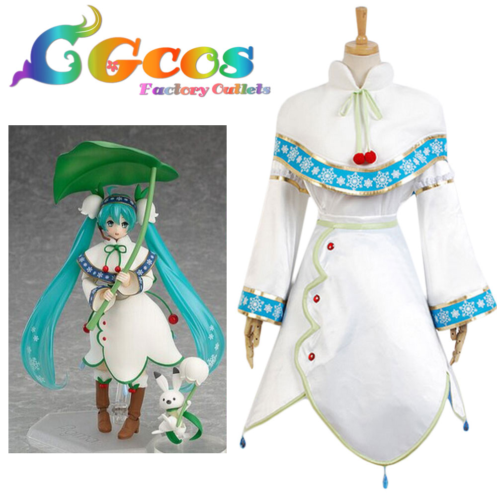 CGCOS Free Shipping Cosplay Costume Vocaloid Snow Miku Hatsune Miku Dress Uniform Halloween Christmas anime vocaloid snow miku kagamine rin lovely lolita dress uniform cosplay costume for women free shipping