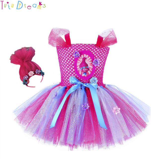 85c62eda4 Adorable Princess Girl Trolls Poppy Party Favors Bubbles Tutu Dress Child Troll  Costumes For Kids first Birthday with Headband