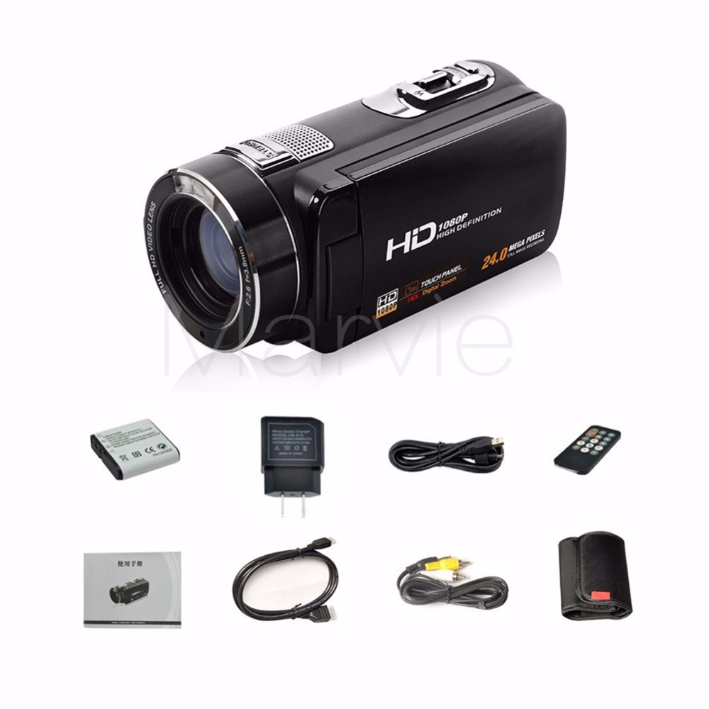 "Marvie FHD Camcorder True 1080p @ 30fps Max 24.0 MP Full Color Screen For Low light 3.0"" Touch Screen 16x Zoom DV Recorder 8"