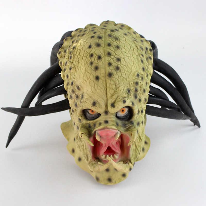 Латекс фильм чужой Хищник костюм с маской шлемы реквизит антенна страшные маски для вечеринки в честь празднования Хеллоуина полное лицо голова карнавальные маски