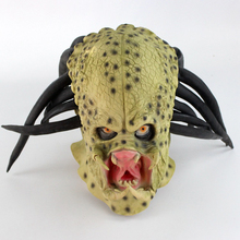 Latex Movie Alien Predator Cosplay Mask Costume Helmet Props Antenna Halloween Party Horror Full Face Head Mask toys