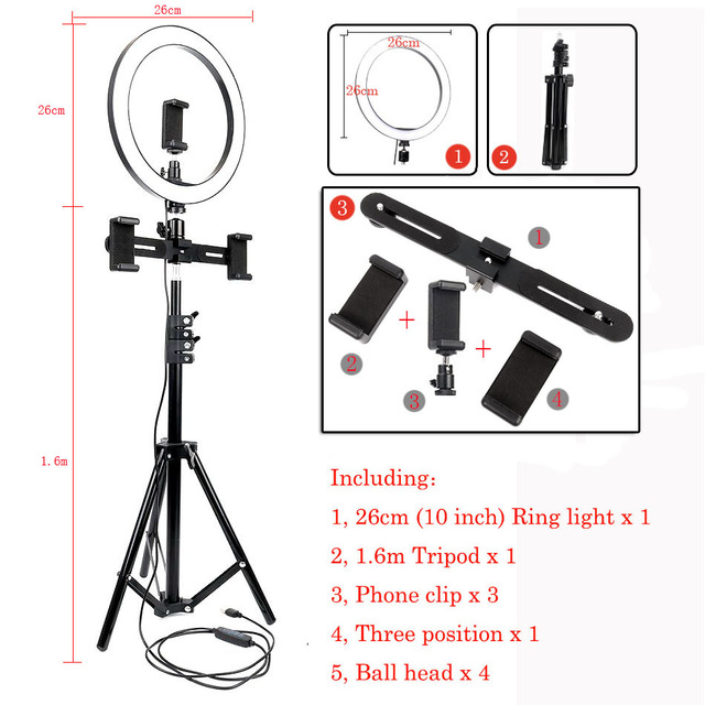 XINHUANG 10inch 26cm USB Interface Dimmable LED Selfie Ring Light Camera Phone Photography Video Makeup Lamp with Tripod Phone Clip Size : G