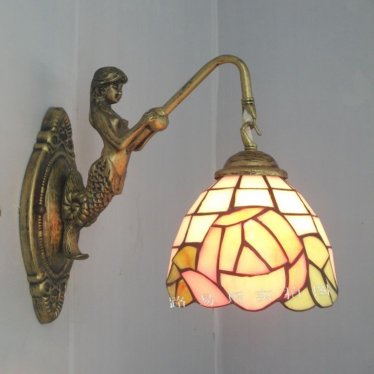 Wall Mirror Lamps : Mermaid Pastoral rose boudoir mirror front bedroom wall lamp Tiffany bedside lamps balcony ...