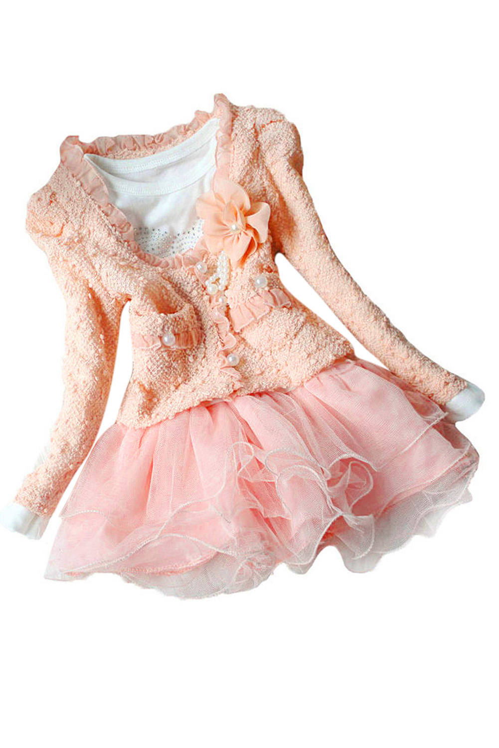 ABWE Best Sale  Beautiful Girls Casual Jackets Cardigan Tutu Dress Baby Kids Coat+Dress Girls Dress Pink 12 abwe 4x a