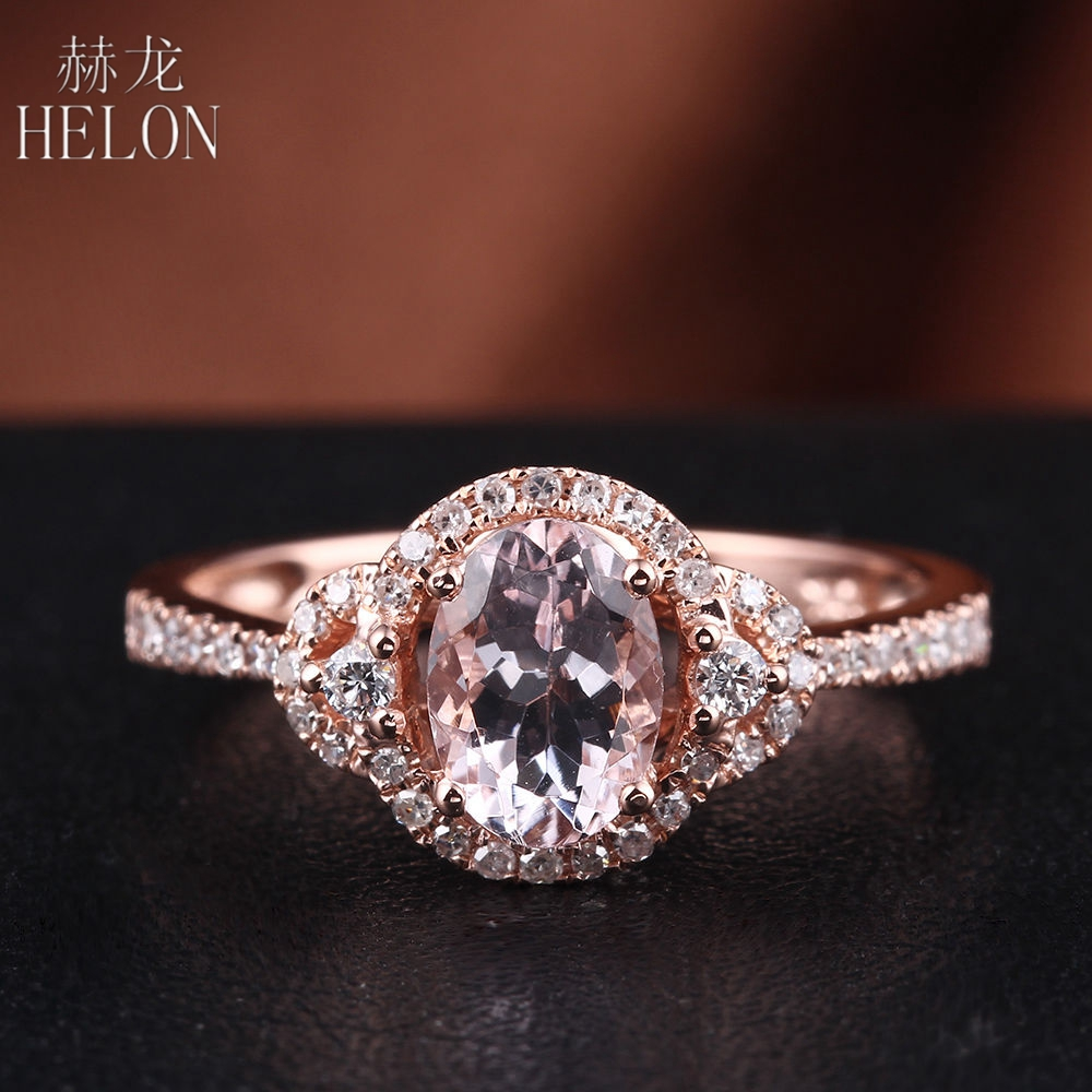 HELON Solid 14K Rose Gold Pink Morganite Ring Oval Cut 5x7mm Pave Natural Diamonds Engagement Wedding Fine Jewelry Ring Setting solid 14k rose gold 4 5mm round cut natural morganite engagement ring si h full cut natural diamonds wedding ring fine jewelry