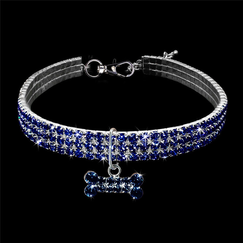 Bling Full Rhinestone Alloy Dog Necklace Collar Pendant for Pet Puppy Small Dogs Cats Party Decor Dress Up Pet Supplies 40JA22 (2)