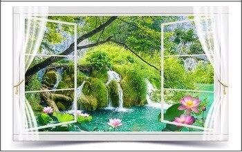 3D wall murals wallpaper custom photo wallpaper mural 3D outdoors landscape flowers mural pond landscape background wall papers