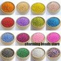19 cores 2mm 1500 pcs PRATA FORRADO BLGY02X Semente Checa Vidro Spacer beads Para fazer jóias DIY