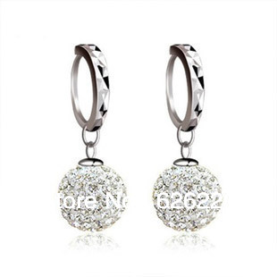 Fashion 925 Sterling Silver Imitation Diamond Ball Drop Earrings Women White Gold Plated Buckle For Party Or Wedding In From Jewelry