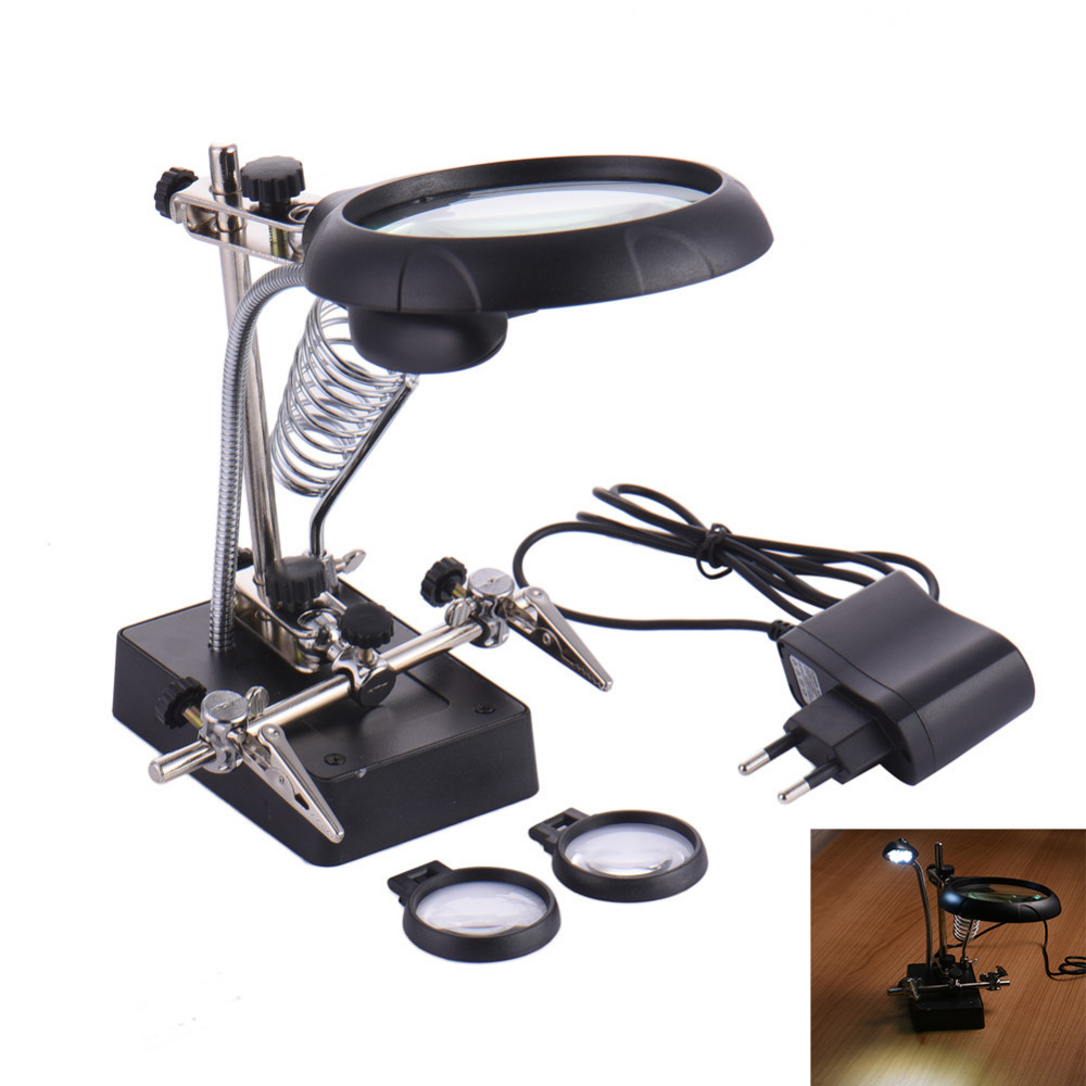 Aliexpress buy 25x 75x 10x desktop magnifying glass led aliexpress buy 25x 75x 10x desktop magnifying glass led light magnifier with spring table lamp helping hand soldering allegator clips from reliable aloadofball Gallery