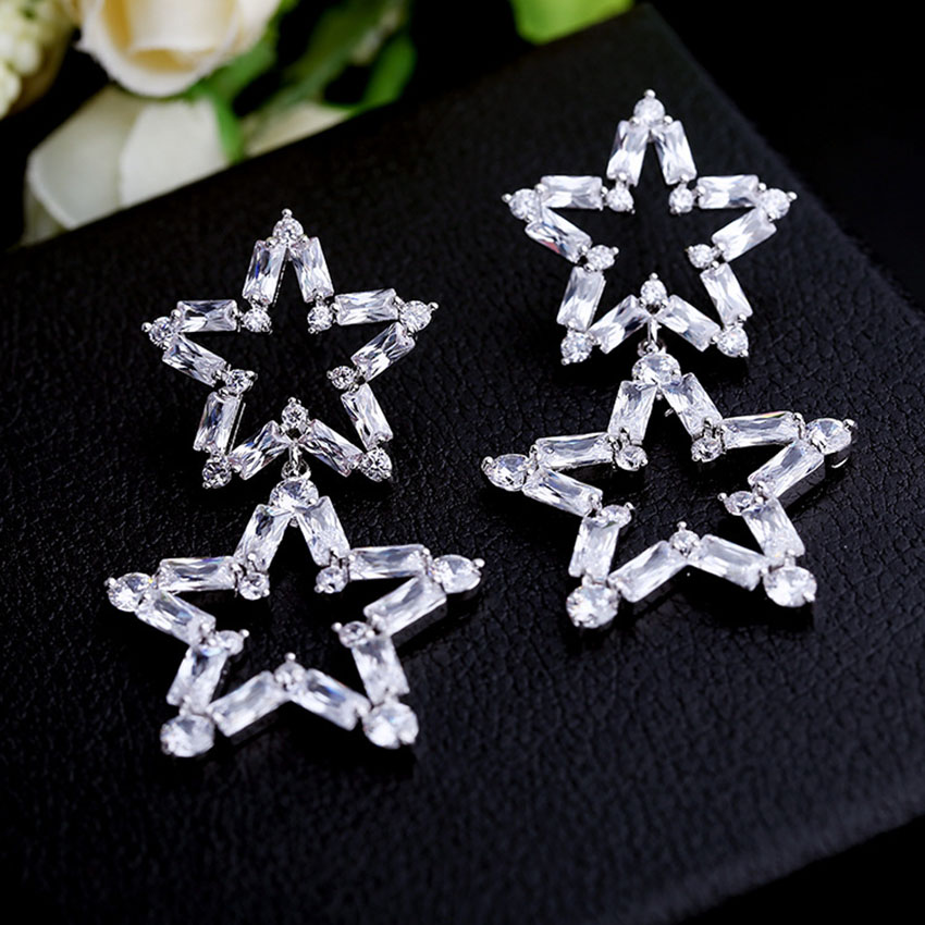 Europe and fashion font b luxury b font Korean star with the paragraph silver needle zircon