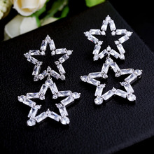 Europe and fashion luxury Korean star with the paragraph silver needle zircon five pointed star earrings