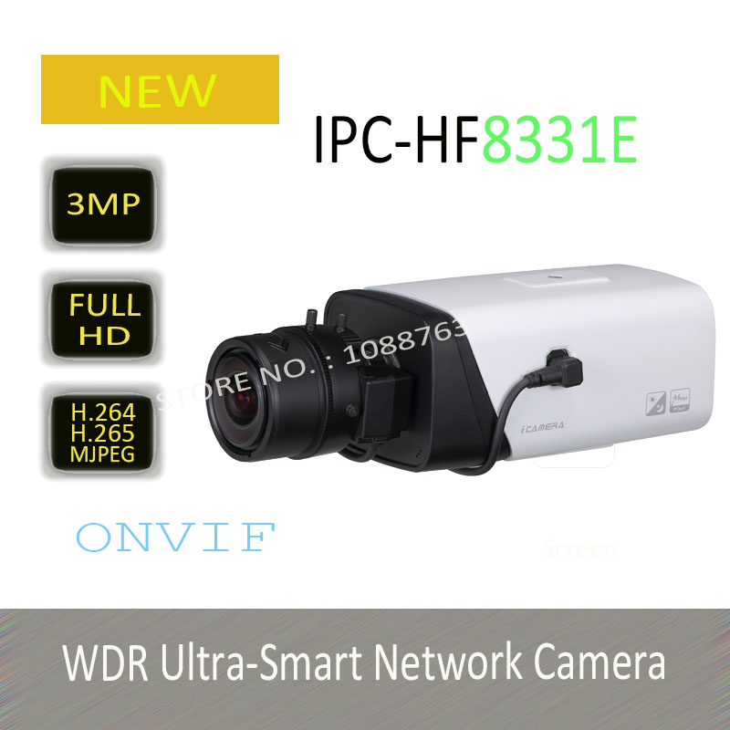 DAHUA 3MP WDR Ultra-Smart Network Box Camera with POE H.265 Compression Original English Version without Logo IPC-HF8331E
