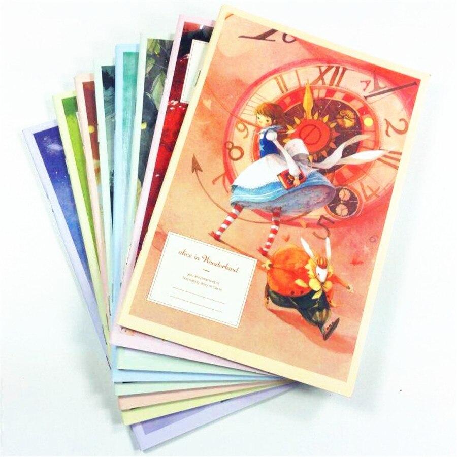 8pcs/lot 210*150MM New Korea Cartoon Alice & Anne Series Kraft Paper Notebook Agenda Journal Diary Office School Supplies