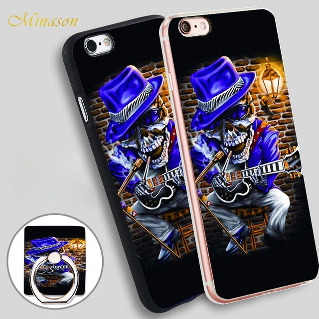 Minason Skull Music Blues Rock Guitar Personalized  Soft TPU Silicone Phone Case Cover for iPhone X 8 5 SE 5S 6 6S 7 Plus