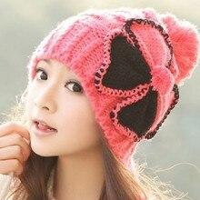 От 1 шт. 2013 Зимние теплые вязаные шапки модные женские бабочки зимне наушники шапка многоцветная MZ6814