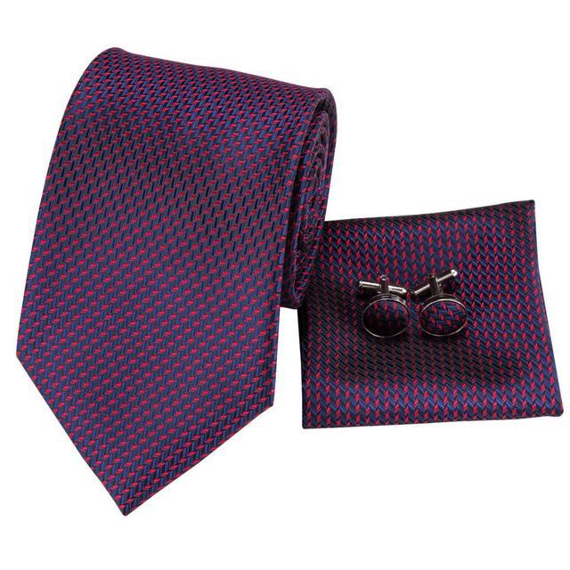 C-3123 Hi-Tie Silk Men Tie Purple Necktie Handkerchief Cufflinks Set Fashion Men's Classic Party Wedding Tie Set 8.5cm wide 5