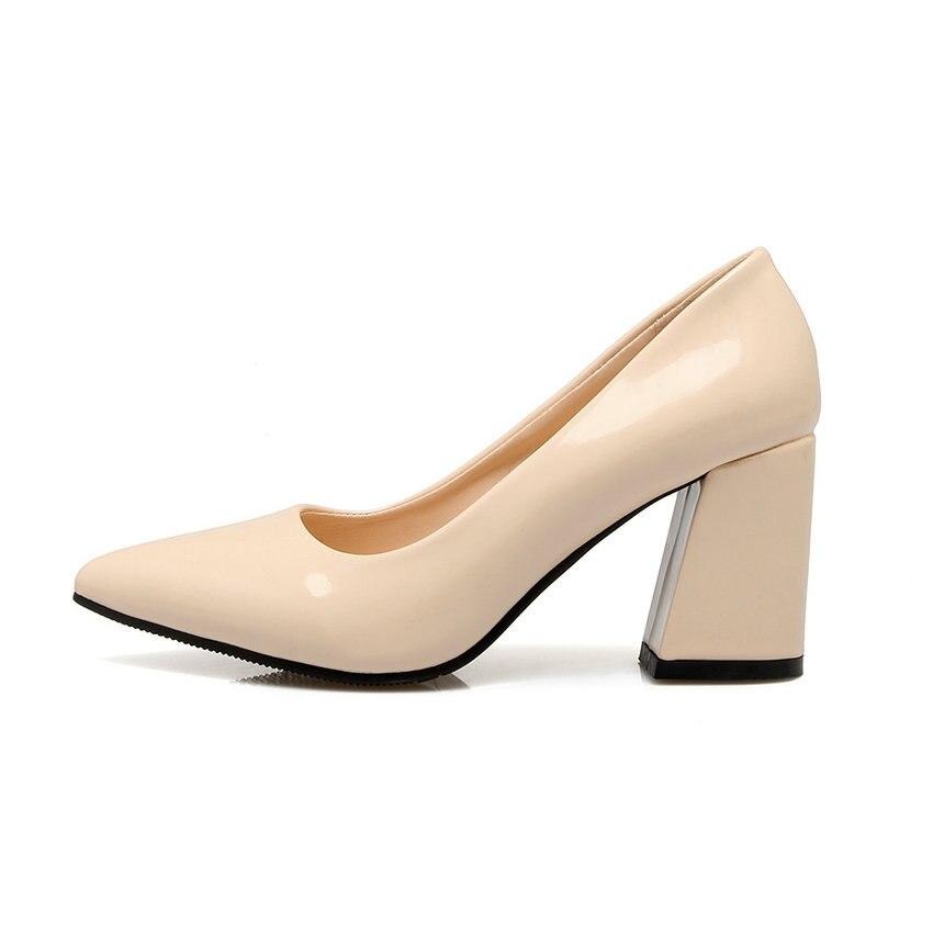 Verni Femmes noir Hauts Taille Dames 43 Chaussures rose Cuir Tasslynn rouge En Bureau 34 Beige Talons De Glissent Robe Pompes Poined Sur Orteil 2018 Carrés wTCqB