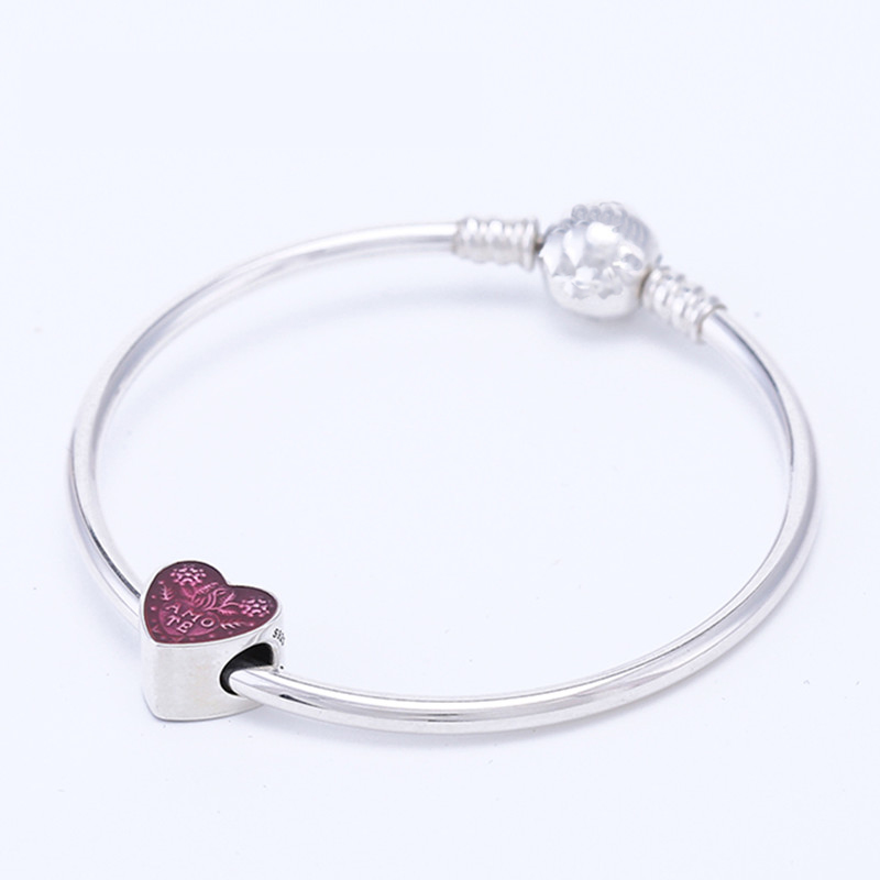 ZTUNG PD2 Genuine 100% 925 Sterling Silver spherical Classic buckle Ladies Bracelet Fit with Charms Beads Gift Jewelry pd2 ztung custom made pd2 bracelet sterling silver for women and men have heart for love