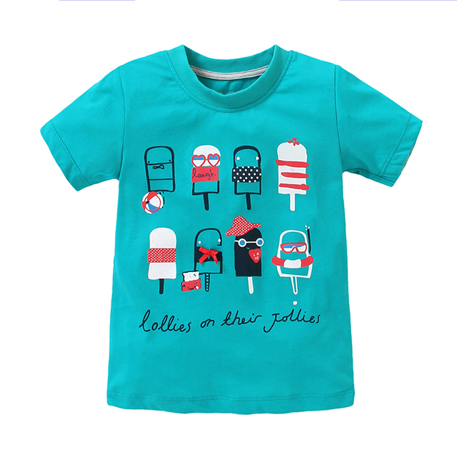 7af5780f8 T-shirt Girl Baby Short Sleeve T-shirt Sky Blue Icecream Girl Casual T-shirt  1-6 Years Little Girl Cotton Summer Shirts Kid Tees