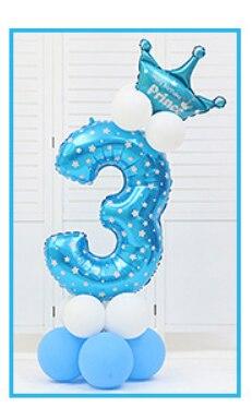 16 шт./упак. розового и голубого цвета для детей 0-9 цифры Большие Гелиевые номер Фольга детей фестивалей Dekoration День рождения шляпа игрушки для детей - Цвет: blue 3