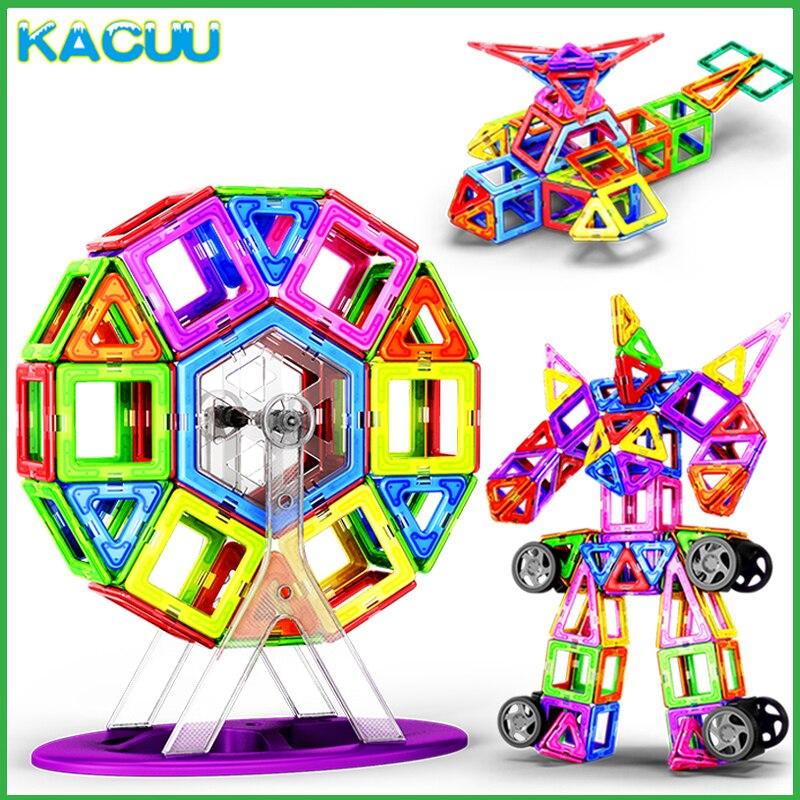 KACUU 19-125 piezas grandes magnentes bloques de construcción Constructor de diseño magnético juguetes de construcción de modelos para niños