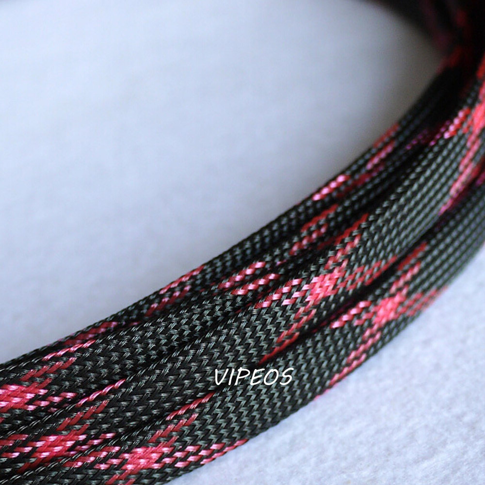 hight resolution of 3meter braided cable 10 18mm wiring harness loom protection sleeving black red for diy cable