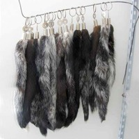 Free Shipping Mink Fur Tail Keychain 20cm Fur Tail Genuine Fur Tail For Bag