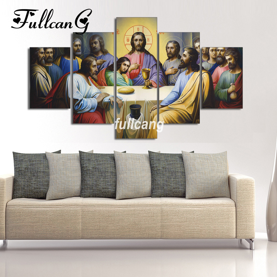FULLCANG Last Supper 5pcs Diamond Painting Cross Stitch Embroidery Religious ICONS Square Mosaic F527