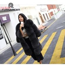 FURSARCAR 85CM Long Natural Real Fox Fur Coats For Women New 2017 Winter Thick Female Fur Jacket Genuine Fur For Women Overcoat