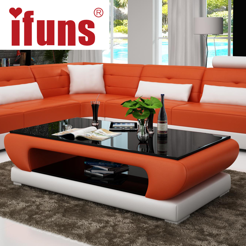 IFUNS Living Room Furniture, Modern New Design Coffee Table, Glass Top Wood  Base Coffee Table, Small Round Glass Tea Table(fr) In Coffee Tables From ...