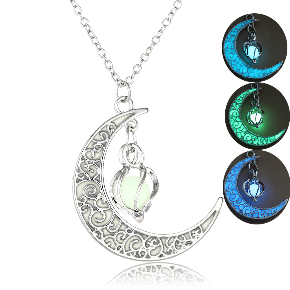 Moon Glowing Necklace Gem Charm Jewelry Silver 1