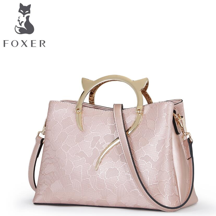 FOXER 2017 New designers women leather bag fashion bags handbags women famous brands women handbags shoulder quality cowhide bag