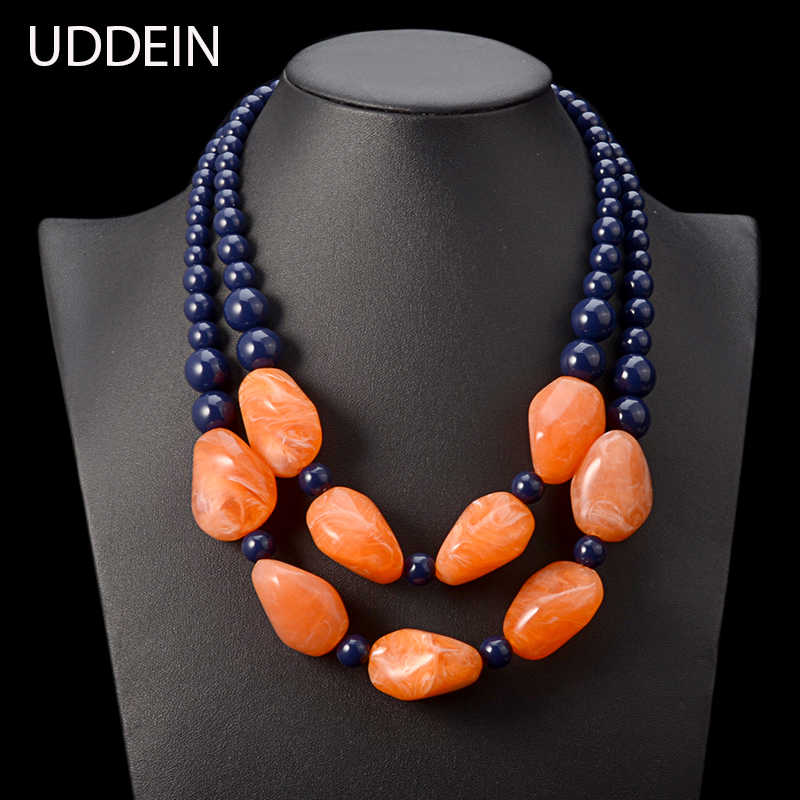 UDDEIN bohemian maxi necklace women double layer beads chain resin gem vintage statement choker necklace & pendant  jewellery