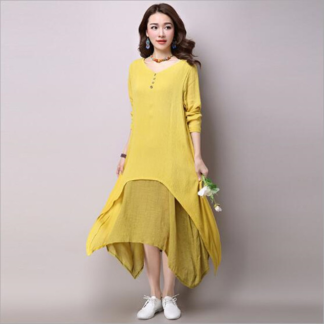 Women White Yellow Orange Two Piece Long Dress Linen Causal Vintage V Neck  Maxi Dress Floor 5602e5a3e619
