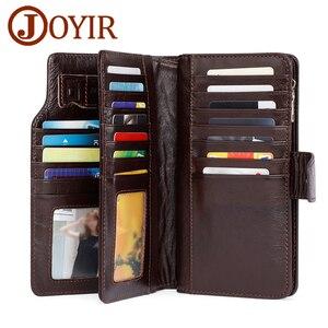 Image 1 - JOYIR Luxury Brand Business Men Wallets Genuine Leather Man Handy Bag High Capacity Long Wallet for Mens 2018 New Clutch Wallets
