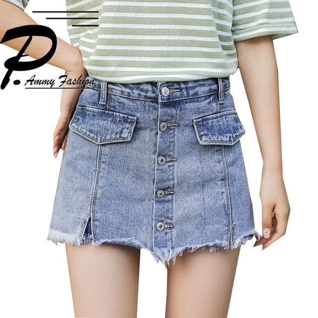 9833c8fc7e37 2018 Tassel Denim Shorts Skirts Women Girls Summer High Waist Hot Short  Pants Korea Fashion casual Single-breasted Short Jeans