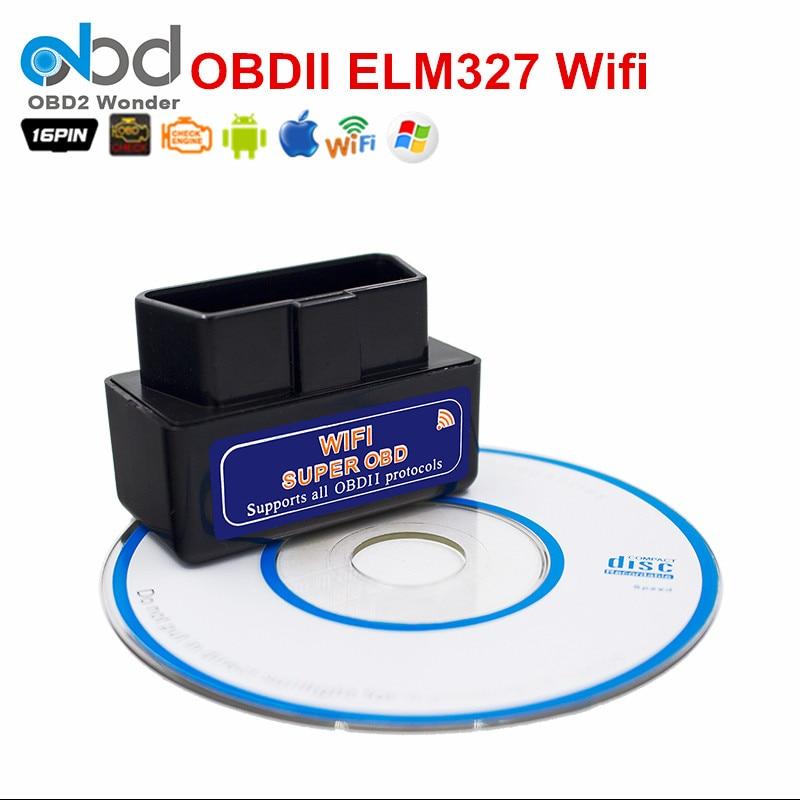 Prix pour Protable MINI OBD2 Outil ELM327 WIFI 25K80 Auto Code Scanner Wifi ELM 327 Travaux Sur iOS/Android/PC pour Multi-Voitures Livraison Gratuite
