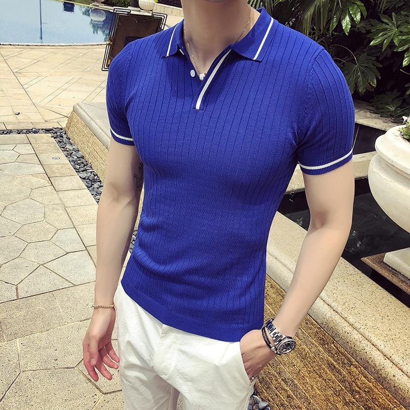 4 Solid Color Knitted   Polo   Shirt Stripe Collar Men Summer   Polo   Shirt Camiseta Verano Hombre Blue Yellow Black White British   Polo