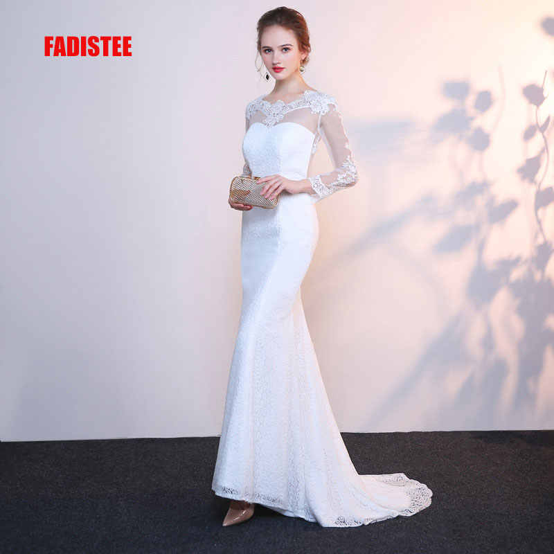 FADISTEE New arrival Gorgeous style dress evening dresses lace mermaid full  sleeves gown prom sexy backless 80aab948977f