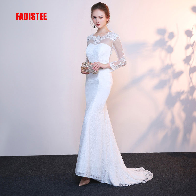 FADISTEE New arrival Gorgeous style   dress     evening     dresses   lace mermaid full sleeves gown prom sexy backless style scoop neck