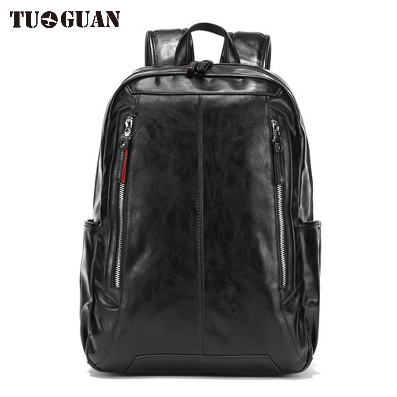 TUGUAN Fashion Men PU Backpack Leather Laptop Bag Waterproof Casual Schoolbag College Student Back Pack for Boy Male Bagpack