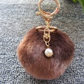 Pom Pom Fur Ball Pearl Key Chain - Women Bag Pendent 10cm 17 Colors Pompom Ball with Pearl for Bag Charm Car Key Ring Jewelry